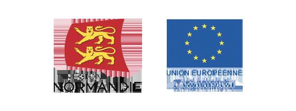 Logos Région Normandie et Union Européenne